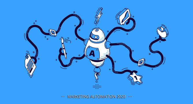 Marketing automation 2020 isometric banner. Technology for SEO, internet, digital business content. Octopus robot with many hands holding office attributes and graphs. 3d vector illustration, line art