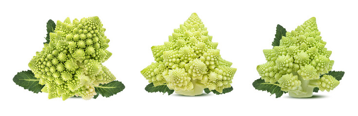 Fototapete - Roman cauliflower isolated on white background with clipping path