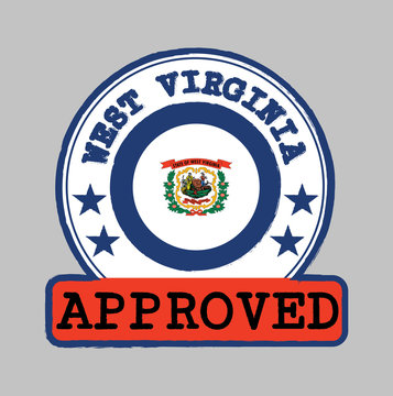 Vector Stamp of Approved logo with West Virginia flag in the round shape on the center.