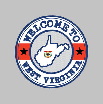 Vector stamp of welcome to West Virginia with map outline of the state in center.