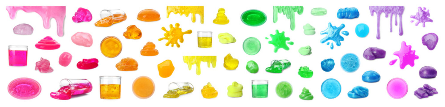 Set of different colorful slimes on white background. Antistress toy