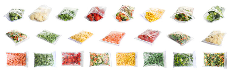 Set of different frozen vegetables in plastic bags on white background