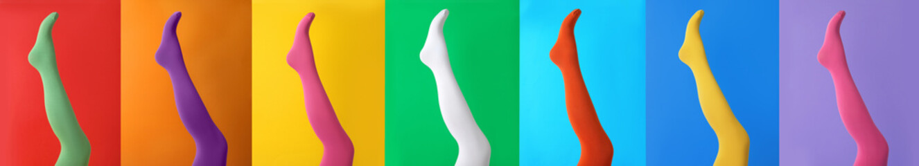 Collage of women wearing different bright tights on backgrounds, closeup. Banner design