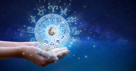 Poster Universe Zodiac signs inside of horoscope circle. Astrology in the sky with many stars and moons astrology and horoscopes concept