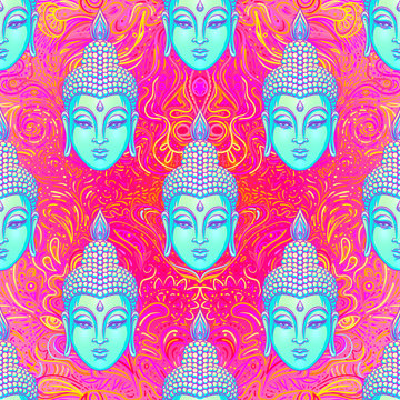 Sitting Buddha over colorful neon background. Seamless pattern. Vector illustration. Psychedelic mushroom composition. Indian, Buddhism, Spiritual Tattoo, yoga, spirituality. 60s hippie colorful art.
