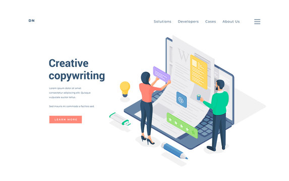 Office workers doing creative copywriting isometric vector illustration