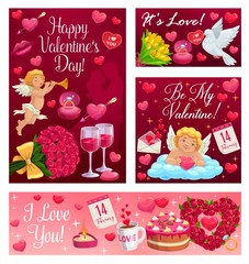 Happy Valentines day calligraphy wishes, I love you and Be my Valentine. Vector cupid angel in cloud with heart and arrow, 14 February pink roses, lip kiss and wine, wedding cake and ring