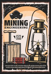 Mining, coal extraction and mine excavation engineering vintage retro poster. Vector mining industry professional equipment tools, cave dynamite, miner lantern gas lamp and respirator mask