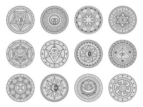 Occult, alchemy and astrology icons, occultism and sacred religion mystic symbols. Vector magic eye, masonry pyramid and hand, sun and moon in pentagram, sacred religion and palmistry esoteric signs