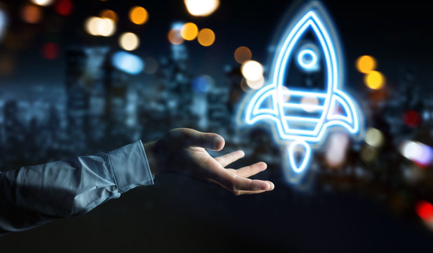 Man hand using startup digital neon interface 3D rendering