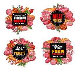 Meat products, butcher shop sketch pork, beef and sausages. Vector farm market butchery chicken legs and wings, mutton ribs and smoked bacon, brisket grill, lamb and beefsteak filet