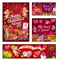 Valentines day greetings, my heart is yours and you are so lovely. Vector angel with wings, curled cupid and holiday of love symbols. Heart shape wreath of flowers, crystal ball, cupcakes and elixir