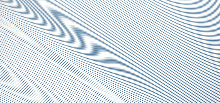 Abstract blue wave lines pattern on white background and texture.