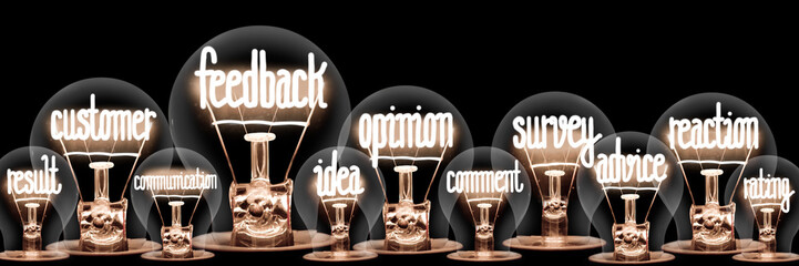 Light Bulbs with Feedback Concept Wall mural