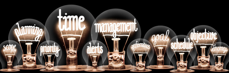 Light Bulbs with Time Management Concept