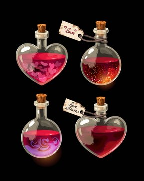 Vector set of bottles with love elixir