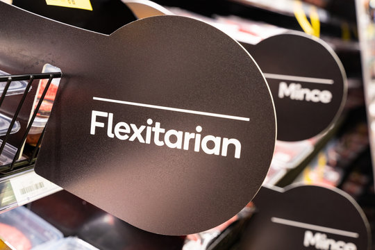 Flexitarian sign in a Wellington, New Zealand supermarket advertising meat free alternatives. Flexitarian diets are becoming more popular as a result of health and climate change reasons.