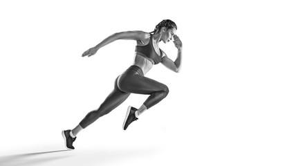 Obraz Sport backgrounds. Runner. Isolated scene. - fototapety do salonu