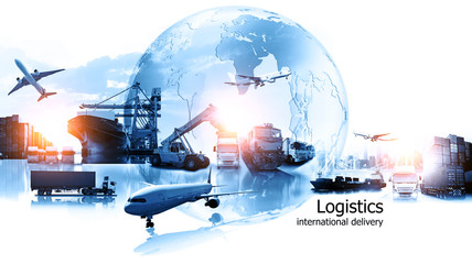 Wall Mural - Logistics international delivery concept, World map with logistic network distribution on background.background for Concept of fast or instant shipping, Online goods orders worldwide