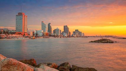 Fototapete - Tel Aviv, Israel. Panoramic cityscape image of Tel Aviv, Israel during beautiful sunset.