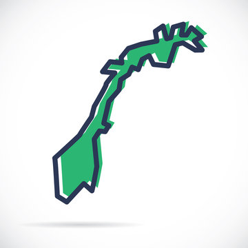 Stylized simple outline map of Norway