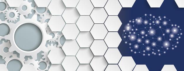 Fototapeta White Hexagon Structure Gears Cloud Header obraz