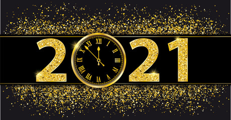 Black Paper Banner Golden Sand Clock 2021 Fotomurales