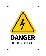 Danger high voltage attention sign. Vector warning sign with lightning icon.