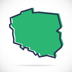 Fototapeta Stylized simple outline map of Poland obraz