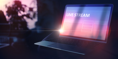 Live Stream on Beautiful Space Gray New Model of Stylish Contemporary Notebook. Evening Education Concept. 3D Rendering.