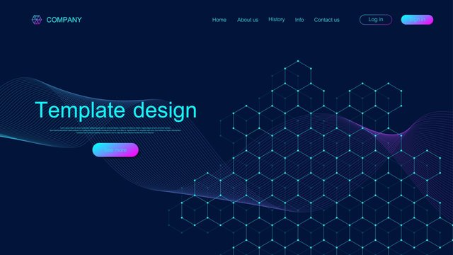Landing page tech background with colorful dynamic waves and hexagonal boxes. Geometric abstract background with lines and dots, cube cell. Website template design. Vector illustration.