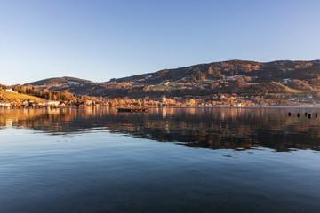 beautiful lake mondsee, salzkammergut, austria