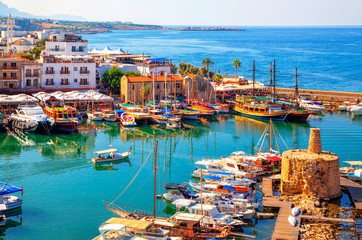 Wall Murals Ship Kyrenia (Girne) old harbour on the northern coast of Cyprus.
