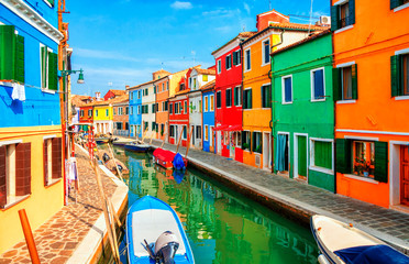 Fotobehang Gondolas Colorful houses in Burano island near Venice, Italy.