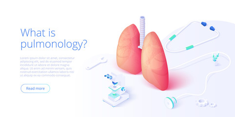 Pulmonary function test illustration in isometric vector design. Pulmonology theme image with doctor analyzing lungs on monitor. Respiratory medical diagnostics. Web banner layout template.
