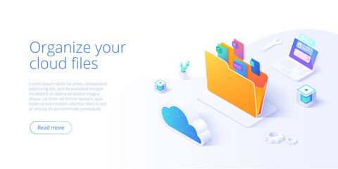 Cloud storage folder isometric vector illustration. Digital file organization service or app with data transfering. Online computing technology. Internet server or datacenter connection network. Wall mural