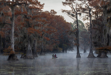 Canoe on Swamp with fog and mist Fotomurales