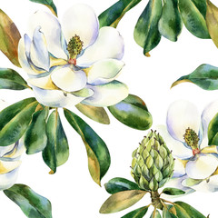 Watercolor seamless pattern with white magnolia, green leaves, botanical painting isolated on a white background, floral painting, stock illustration.