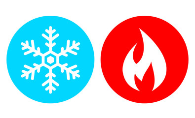 Cold and hot vector icon set