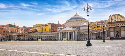 Foto op Aluminium Napels Daylight view of San Francesco di Paola church located at Piazza del Plebiscito in Naples, Italy.