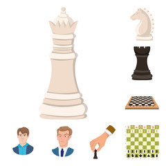 Vector design of chess and game symbol. Collection of chess and strategy vector icon for stock.