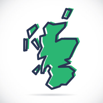 Stylized simple outline map of Scotland