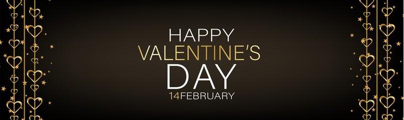 Valentines Day banner background or website header with hanging golden 3d hearts. Love design concept. Romantic invitation or sale offer promo. Vector illustration.