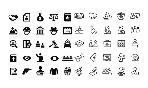 Law and Justice Icons vector design black and white