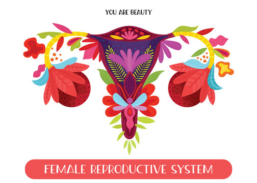 Beauty female reproductive system with flowers. Hand drawn uterus, womb female reproductive sex organ and flowers.Vector illustration.