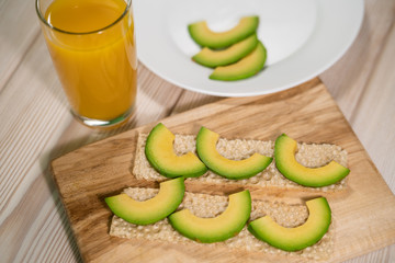 Sliced avocado bread loaf (avocado pound cake, bread made of avocado).