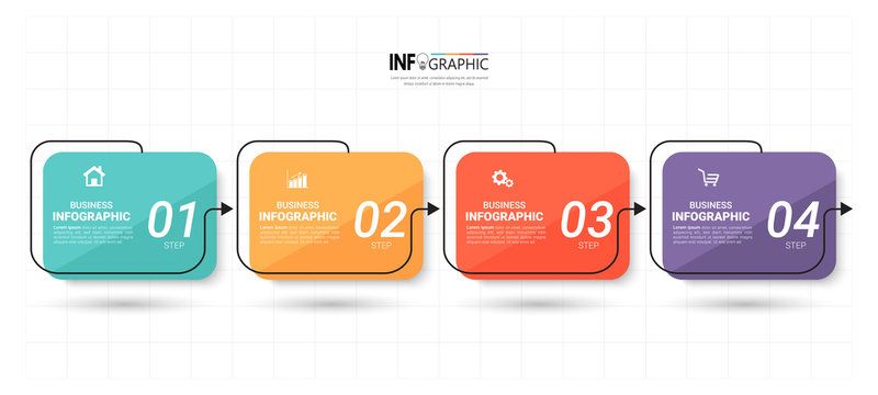 Timeline Infographics design template, linear  concept with 4 steps.