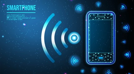 Phone and Wifi icon. smartphone-connected free wifi.  abstract low poly wireframe mesh design. from connecting dot and line. vector illustration.futuristic design on dark blue background