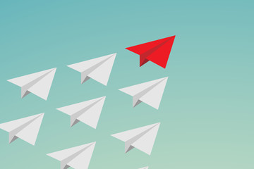 Flat design Leadership teamwork and courage concept. red paper plane and many white ones on sky