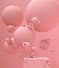 3d rendering of pink podium display minimal scene, pastel color abstract geometric shape.